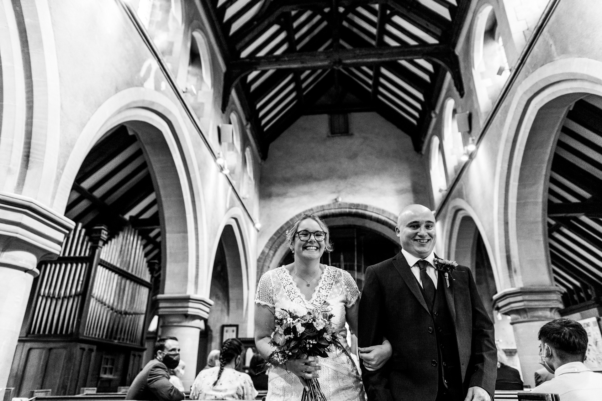 Wedding at Guests arriving at St Mary's Church Meppershall