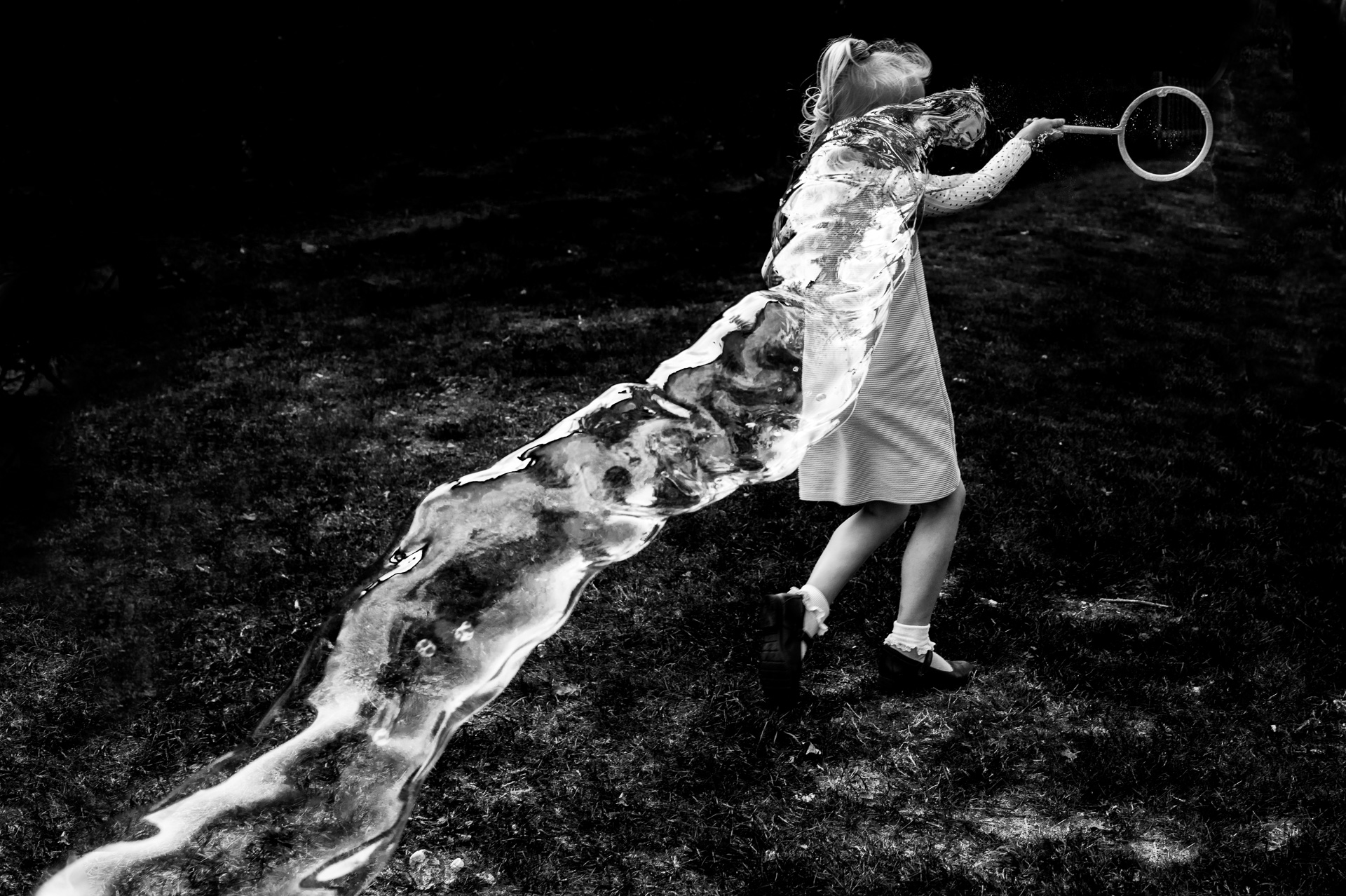 Kids play with bubbles