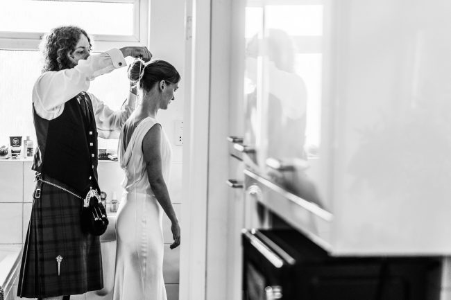 Groom and Bride getting ready