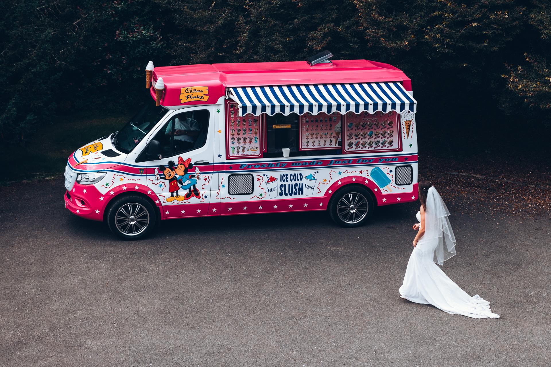 Bride with an ice cream van